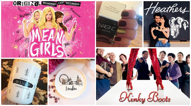 Collage - Mean Girls the musical, Kinky Boots the film, Heathers the film, DW Home candle, Nails Inc Victoria Nail Polish, London Trinket Dish