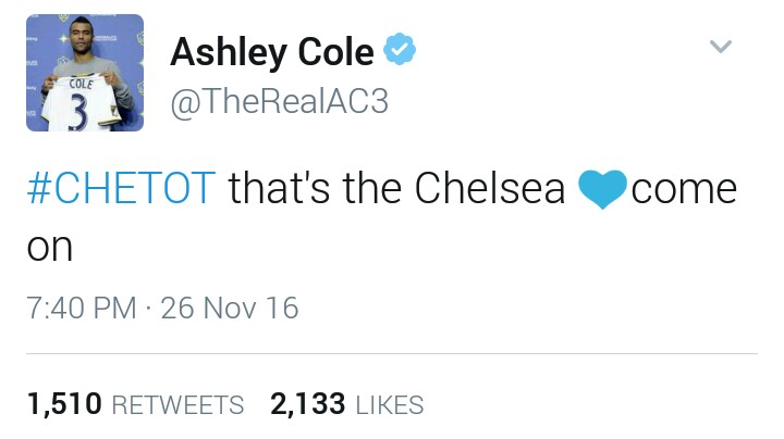 Ashley Cole shades the heck out of Tottenham in series of tweets