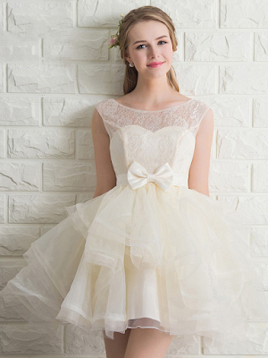Fashion Scoop Neck Lace Tulle with Bow Short/Mini Prom Dress