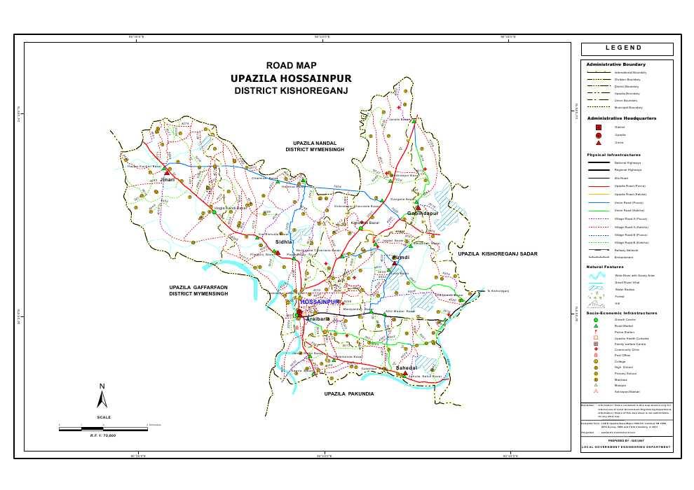 Hossainpur Upazila Road Map Kishoreganj District Bangladesh