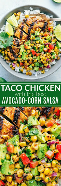 GRILLED CHICKEN TACO BOWLS WITH AN AVOCADO-CORN SALSA