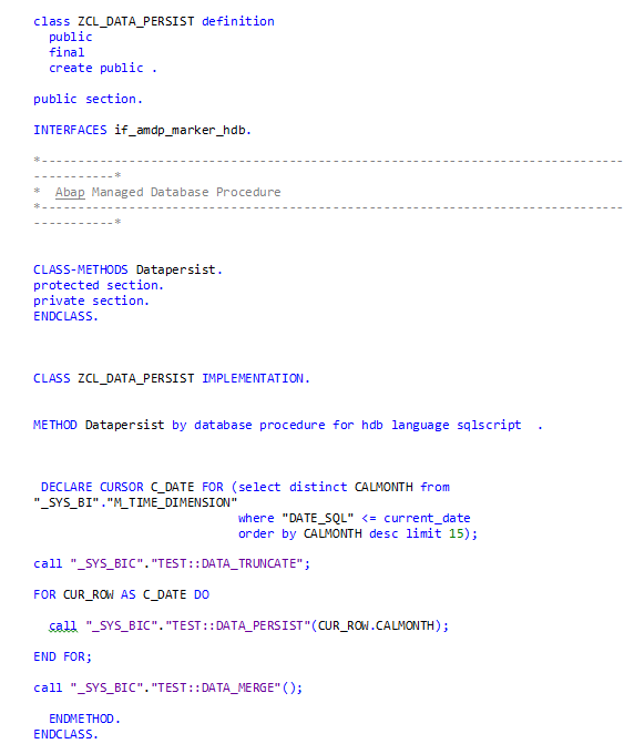 SAP HANA Central : Calling HANA Stored Procedure from Abap class and