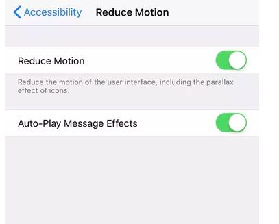 Reduce transparency and motion effects in iOS 11