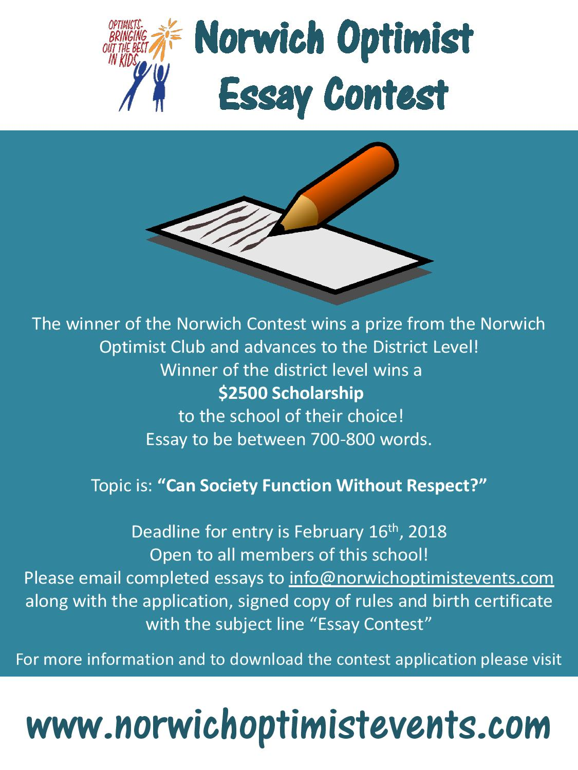 norwich optimist essay contest The o'fallon optimist club #30-295 is sponsoring both an essay and oratorical contest with scholarships awarded to the students that win the competition at the east missouri district level, according.