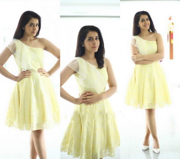 Raashi Khanna in Western Outfit Yellow Dress