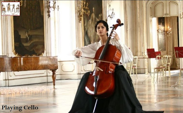 The cello is played in an upright position with the left hand resting on the back of the neck and the right either plucks the strings or holds the bow. The player should be sitting with the body of the instrument resting between the legs.