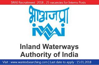 IWAI Recruitment  2018 , 25 vacancies for Interns Posts