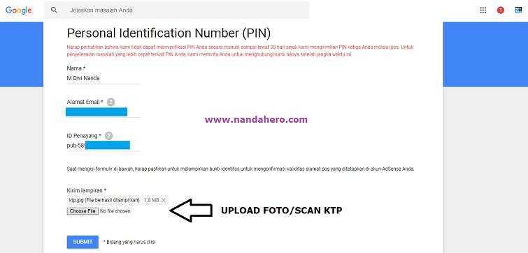 pin adsense tidak datang bisa verifikasi dengan ktp