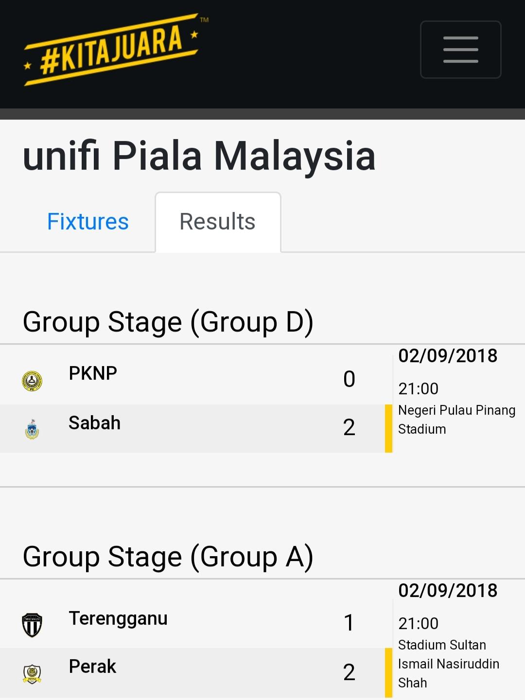 Keputusan Piala Malaysia
