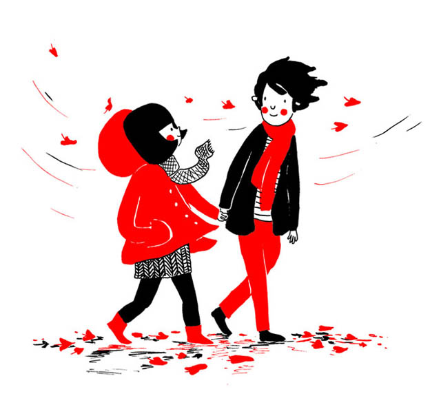 Heartwarming Illustrations Show That True Love Is In The Little Everyday Things - The cold autumn wind can't touch you because your heart always stays warm
