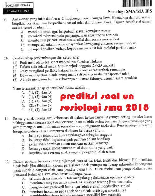 Prediksi Soal Un Sma Sosiologi 2018 Info Guru Terbaru