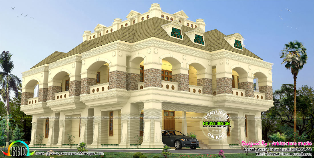 7 bedroom luxury colonial style home kerala home design for Colonial luxury house plans