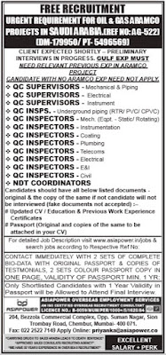 QC Inspectors jobs in Saudi Aramco project