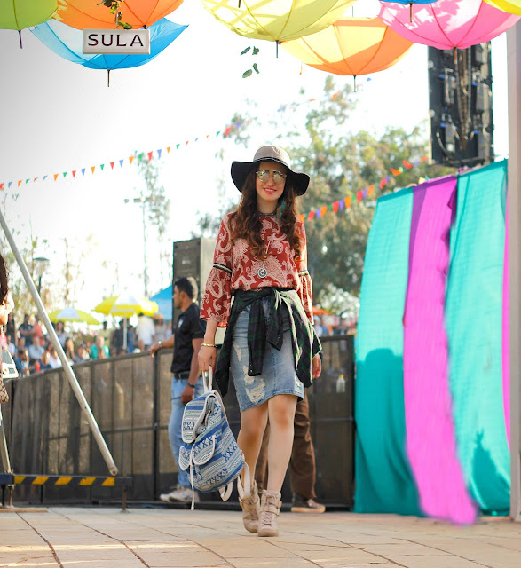 Vero Moda Sula Fest'16, Vero Moda Paisley Bell-sleeve top, ripped denim skirt, plaid shirt, boho-chic, 70's fashion,music festival look, floppy hat, back-pack