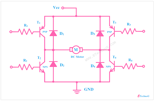 H-Bridge Circuit design using transistor
