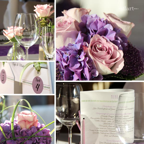 Wedding table setting, Menüekarte, Blumenschmuck in lila und flieder