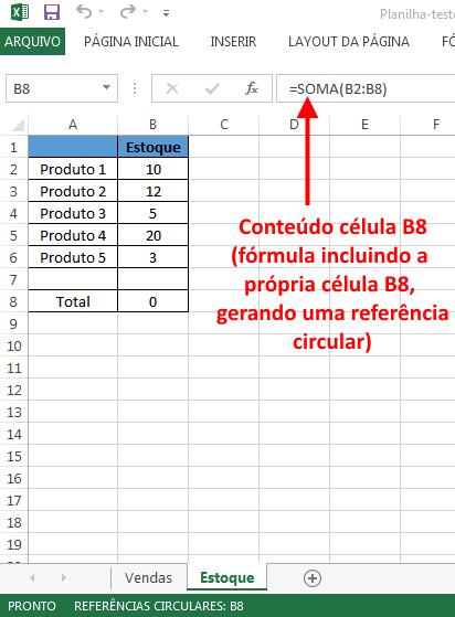 Excel - Erro de Referência Circular localizado