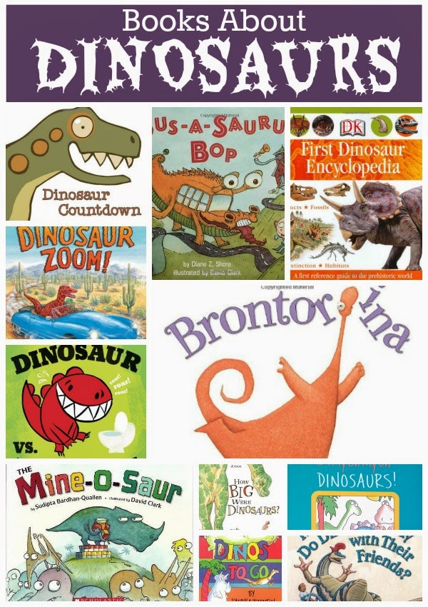 Children's book list about dinosaurs, with reviews. Choices for toddlers, preschoolers, and older children. Fiction and non-fiction.