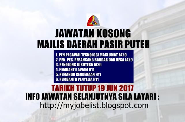 Jawatan Kosong di Majlis Daerah Pasir Puteh Jun 2017