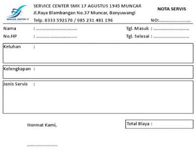 Nota service HP