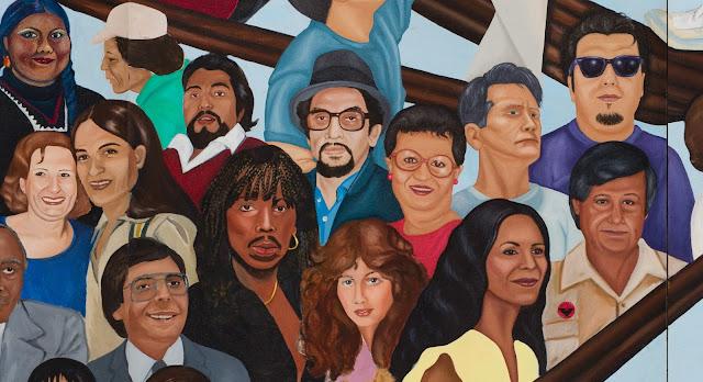 Mural detail, Barbara Carrasco,L.A. History: A Mexican Perspective(1981) Photo: Sean Meredith; LA Plaza de Cultura y Artes/CHS