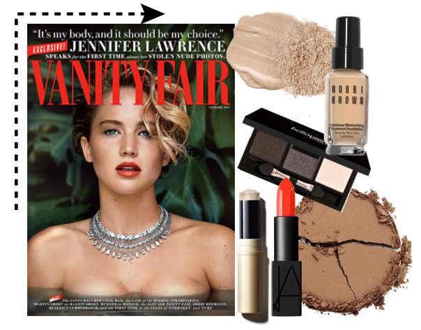 Jennifer Lawrence, get the look, Vanity Fair, JLaw, Jennifer Lawrence Vanity Fair Cover, Jennifer Lawrence makeup, necklaces, celeb
