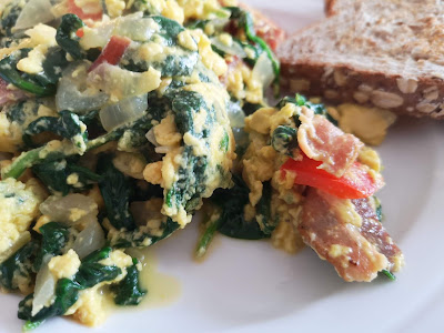 Spinach and scrambled eggs