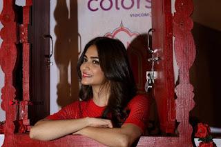Kriti Kharbanda Stills in Red Short Dress at Colours Khidkiyaan Theatre Festival