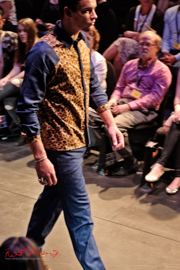 Kobe Kai menswear 50's style fashion design on the runway, Raffles graduate show Carriage Works 2012 Sydney Australia