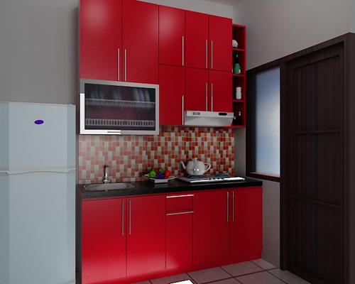 keramik dapur warna merah