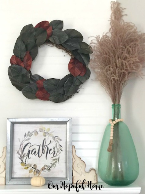 DIY faux magnolia wreath gather sign corbels mantel carboy wheat grass