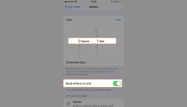 Khóa toàn bộ game, ứng dụng mạng xã hội trên iPhone