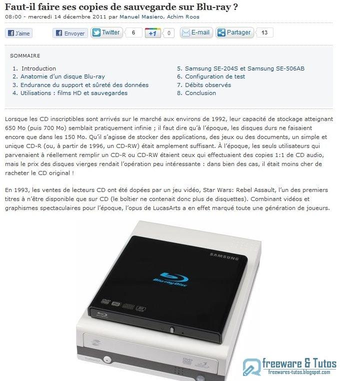 le site du jour faut il faire ses copies de sauvegarde sur blu ray freewares tutos. Black Bedroom Furniture Sets. Home Design Ideas