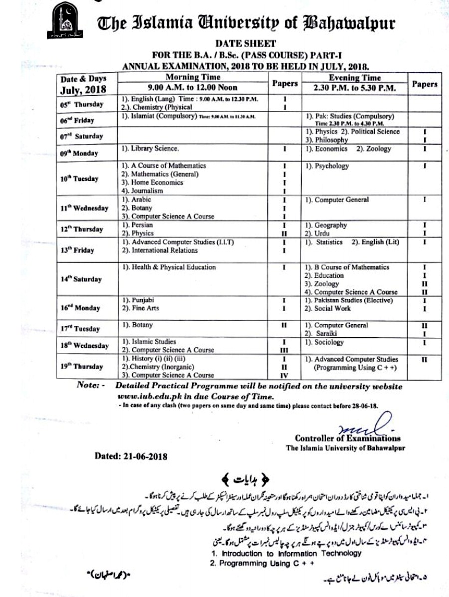 Date sheet B.A. B.Sc. Part - I Third Year  Annual Examination 2018