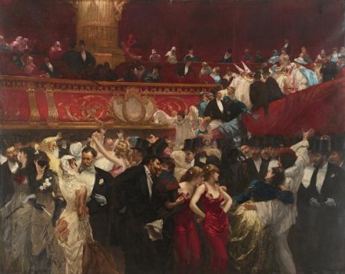 Baile de máscaras, pintura de Charles Hermans. #PraCegoVer