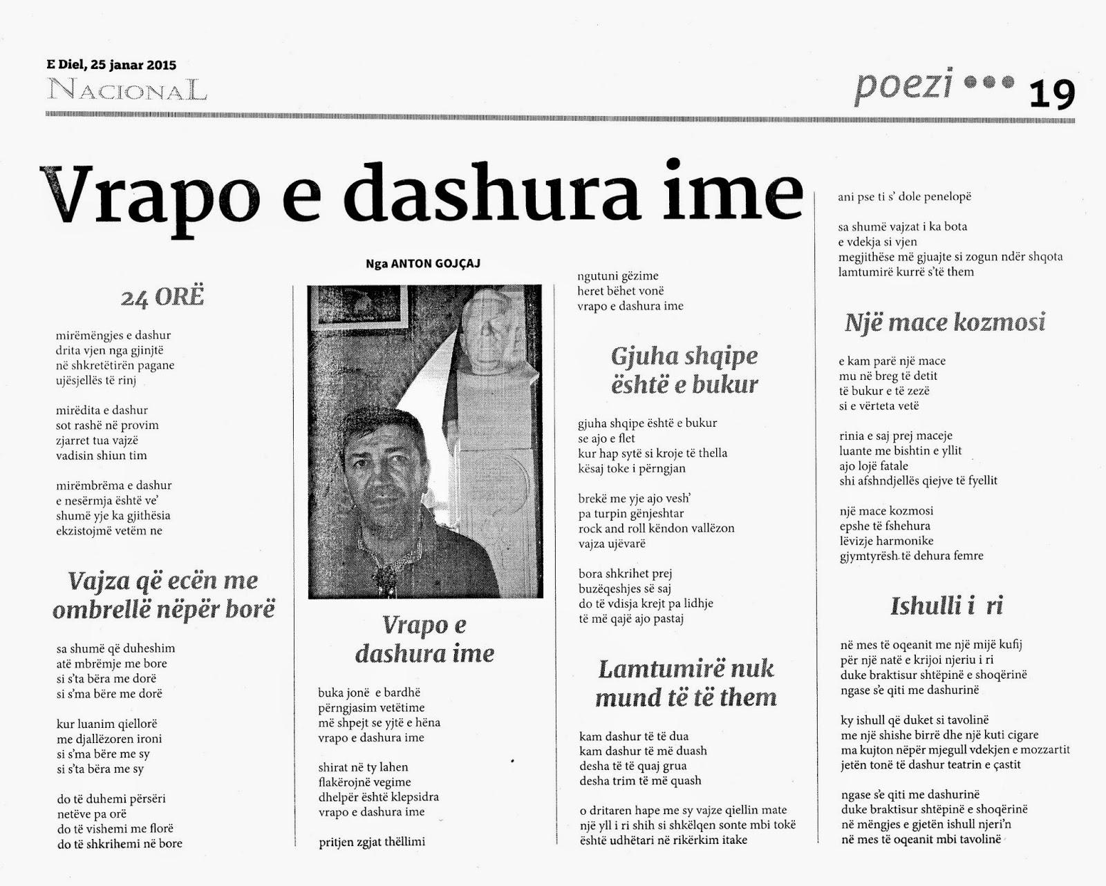 ANTON GOJÇAJ: Poezi nga Anton Gojçaj botohen në Tiranë