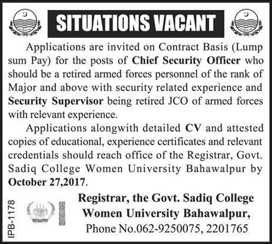 Jobs in Govt Sadiq College Women University Bahawalpur October 2017.