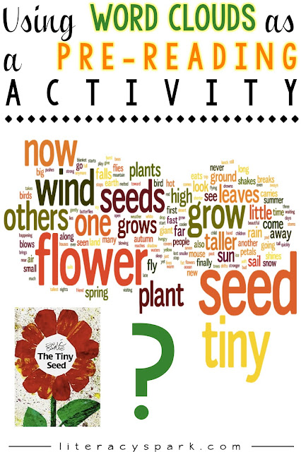 Do you use word clouds in your reading classroom?  Check out this post on how to use a word cloud of a picture book as a pre-reading activity with your students.  It's a fun way to help students identify the topic, genre, important vocabulary, set a purpose, develop questions, and access prior knowledge before reading.
