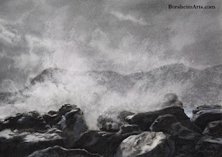 Splash original charcoal drawing of sun, clouds sea cliffs Vernazza Cinque Terre Italy