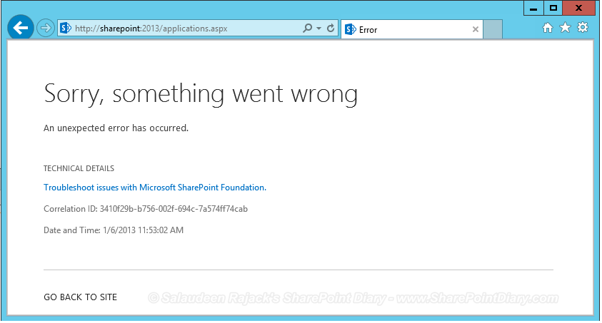 sharepoint 2013 sorry something went wrong correlation id