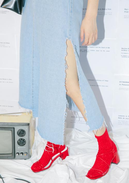 High Slit Frayed Denim Skirt