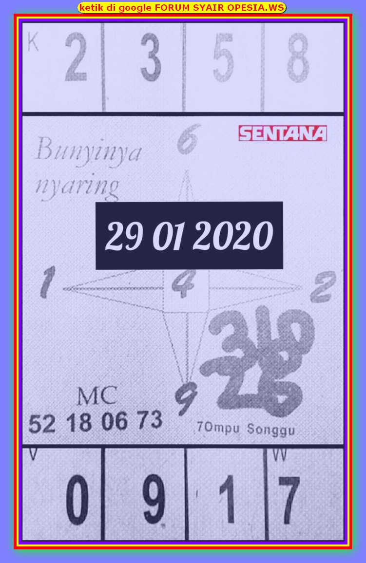 Kode syair Hongkong Rabu 29 Januari 2020 73