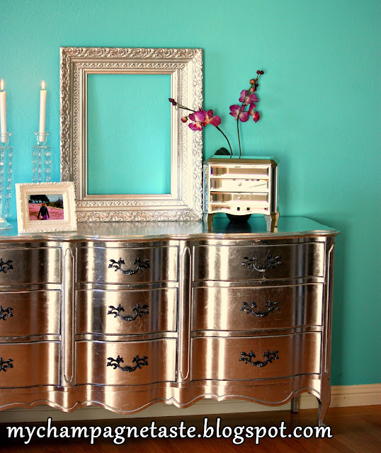 Silver Dresser: Aluminum (Silver) Leafed French Provincial Furniture
