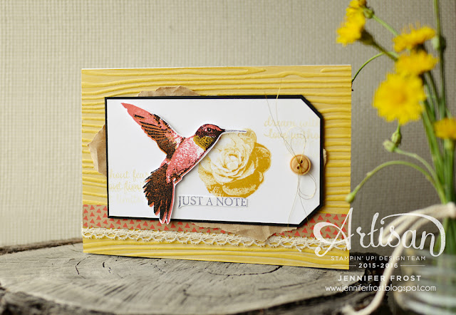 Just a note, Picture Perfect, Shabby Chic, Shine On Designer Series Paper, Papercraft by Jennifer Frost, Stampin' Up!