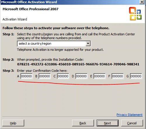 microsoft office 2007 professional telephone confirmation code