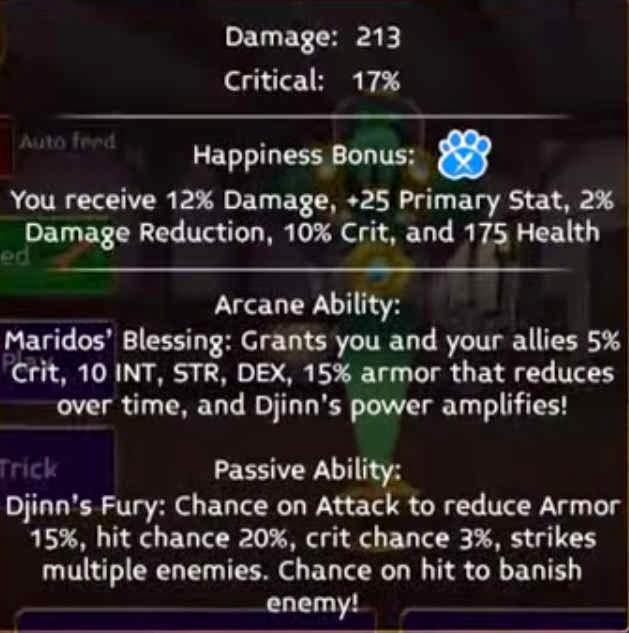 Maridos stats in Arcane legends