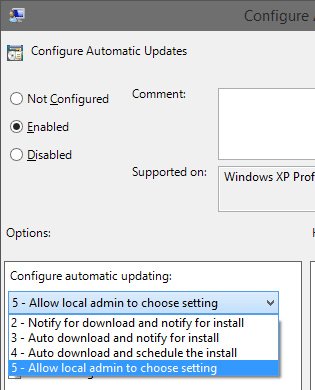 Configure Auto Update from Group Policy