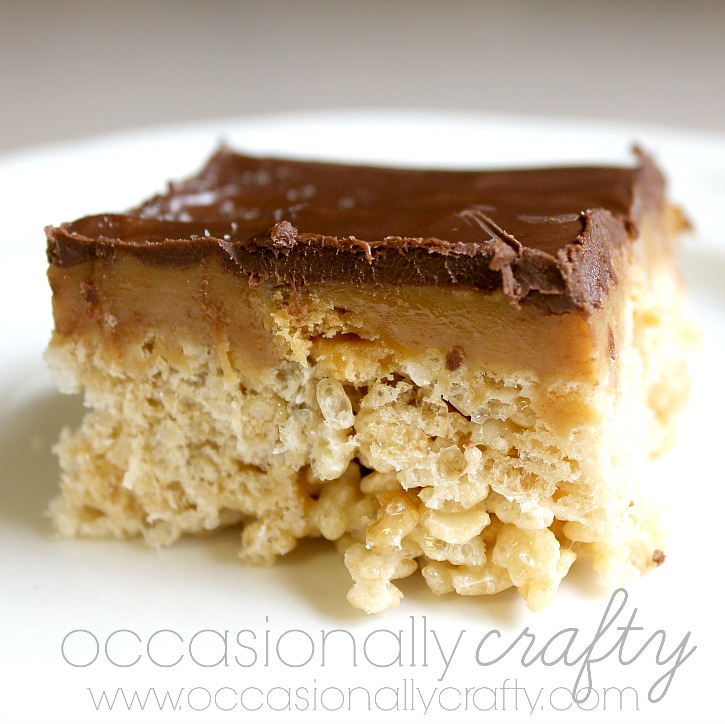 These are not your kids' Rice Krispie Treats!  Add delicious layers of caramel, peanut butter, and chocolate for a delicious dessert worth making and sharing with everyone you know!