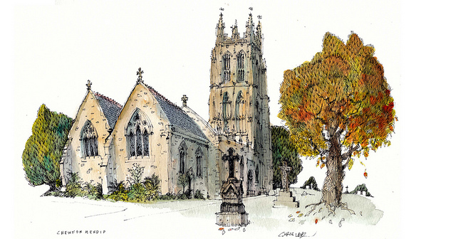 16-UK-Chewton-Mendip-Church-Chris-Lee-Charming-Architectural-wobbly-Drawings-and-Paintings-www-designstack-co