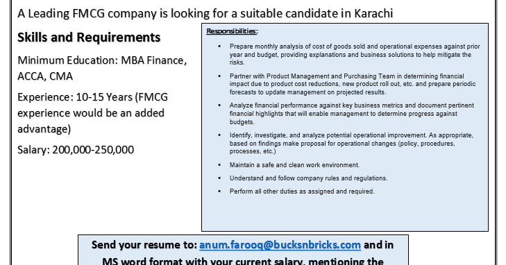 Senior Manager Finance in BucksnBricks | Gulf Job Hunt (UAE, Saudi ...